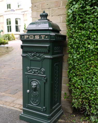 Large Victorian Styled Free Standing Post Box Green