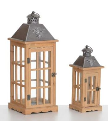 Square Lantern Panelled Glass (Set Of 2)